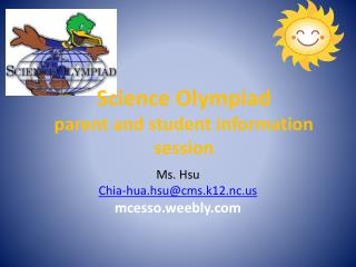 Science  Olympiad parent and student information session
