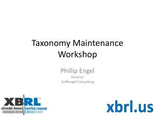 Taxonomy Maintenance Workshop