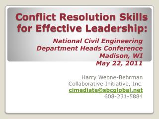 Conflict Resolution Skills for Effective Leadership: