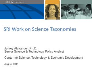 SRI Work on Science Taxonomies