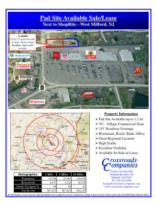 Property Information Pad Site Available up to 1.2 Ac VC - Village Commercial Zone