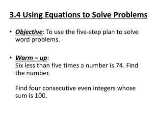3.4 Using Equations to Solve Problems