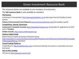 Green Investment Resource Bank