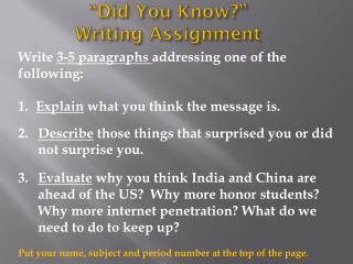 """Did You Know?""  Writing Assignment"