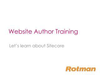 Website Author Training