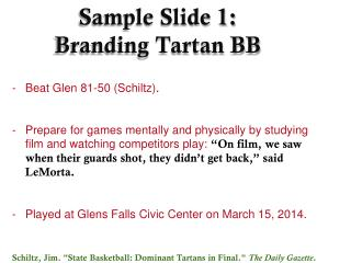 Sample Slide 1: Branding Tartan BB