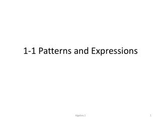 Patterns to Symbols: Algebra
