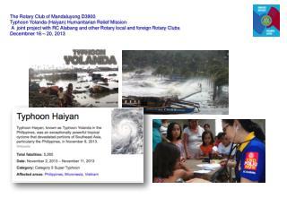 The Rotary Club of Mandaluyong  D3800  Typhoon Yolanda (Haiyan) Humanitarian Relief Mission