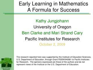 Early Learning in Mathematics A Formula for Success