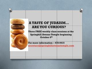 A TASTE OF JUDAISM