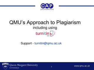 QMU's Approach to Plagiarism including using