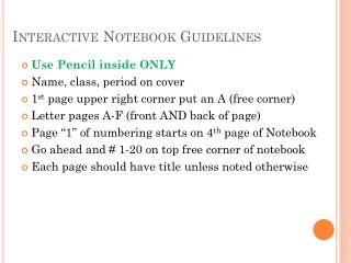 Interactive Notebook Guidelines