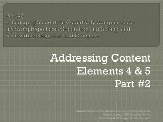 Addressing Content Elements 4 & 5 Part #2