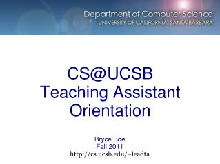 CS@UCSB Teaching Assistant Orientation
