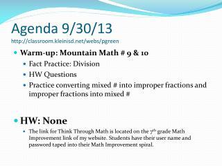 Agenda 9/30/13 classroom.kleinisd/webs/pgreen