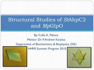 Structural Studies of  St AhpC2 and  Mp GlpO