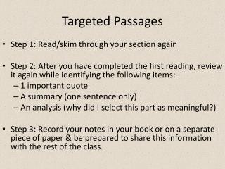 Targeted Passages