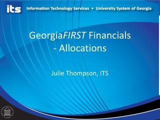 Georgia FIRST  Financials - Allocations