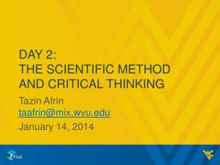 Day 2: The Scientific Method and Critical Thinking