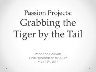 Passion Projects: Grabbing the Tiger by the Tail