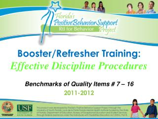 Booster/Refresher Training: Effective Discipline Procedures