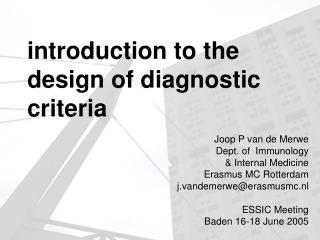 Introduction to the design of diagnostic criteria