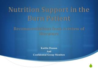 Nutrition Support in the Burn Patient Recommendations from a review of literature