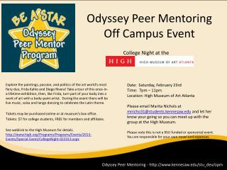 Odyssey Peer  Mentoring Off Campus Event