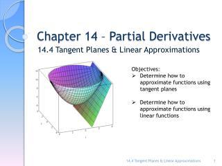 Chapter 14 – Partial Derivatives