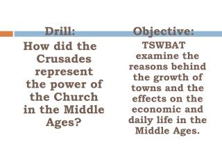 Drill:  How did the Crusades represent the power of the Church in the Middle Ages?
