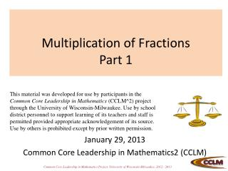 Multiplication of Fractions Part 1
