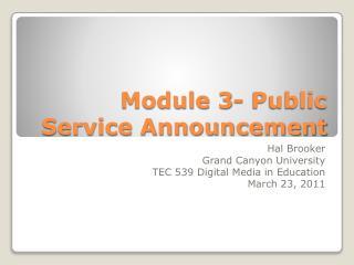 Module 3- Public Service Announcement