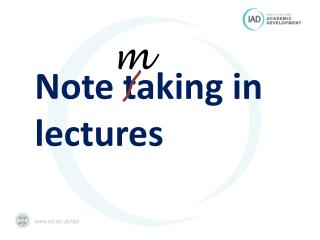 Note taking in lectures