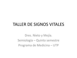 TALLER DE SIGNOS VITALES