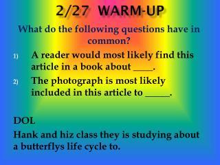 2/27  Warm-up