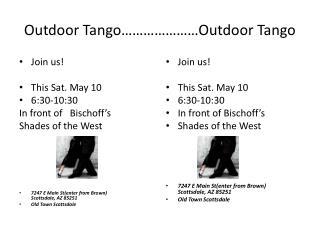 Outdoor Tango…………………Outdoor Tango