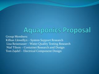 Aquaponics Proposal