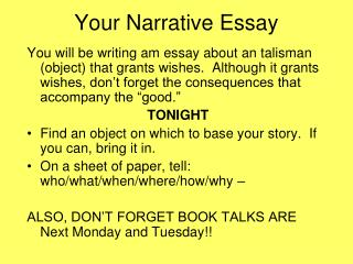 Your Narrative Essay