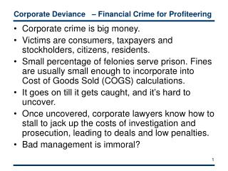 Corporate Deviance     Financial Crime for Profiteering