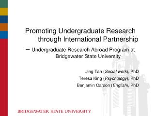 Promoting Undergraduate  Research through  International Partnership