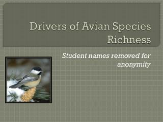 Drivers of Avian Species Richness