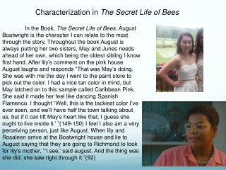 Characterization in  The Secret Life of Bees