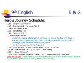 9 th  English                       B & G