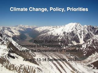 Climate Change, Policy, Priorities