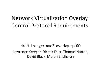 Network Virtualization Overlay Control Protocol Requirements