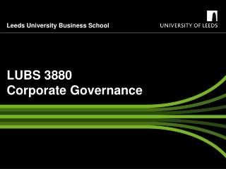 LUBS 3880  Corporate Governance