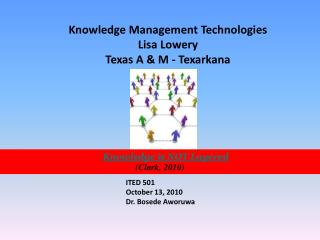 Knowledge Management Technologies Lisa Lowery Texas A & M - Texarkana