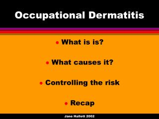 Occupational Dermatitis