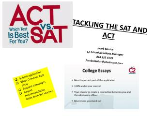 TACKLING THE SAT AND ACT