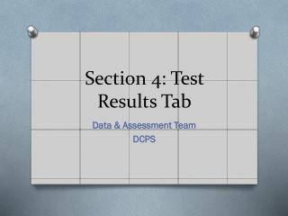 Section 4: Test Results Tab